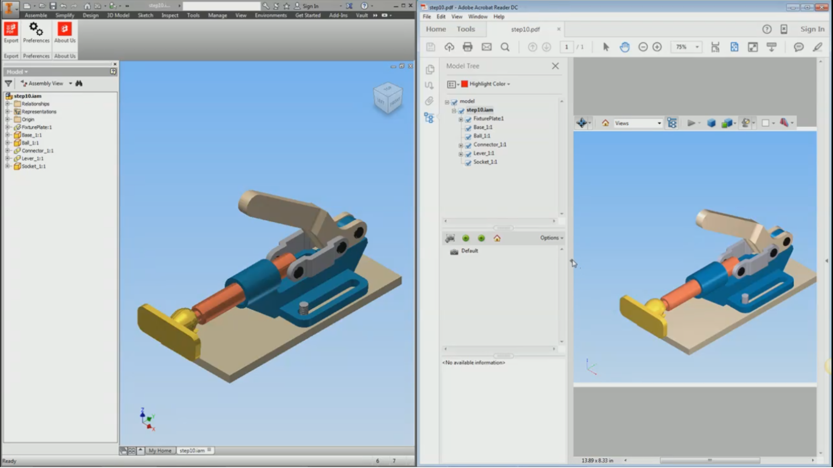 Left image of model in Inventor and the right one is the exported 3D PDF from ProtoTech's 3D PDF Exporter plug
