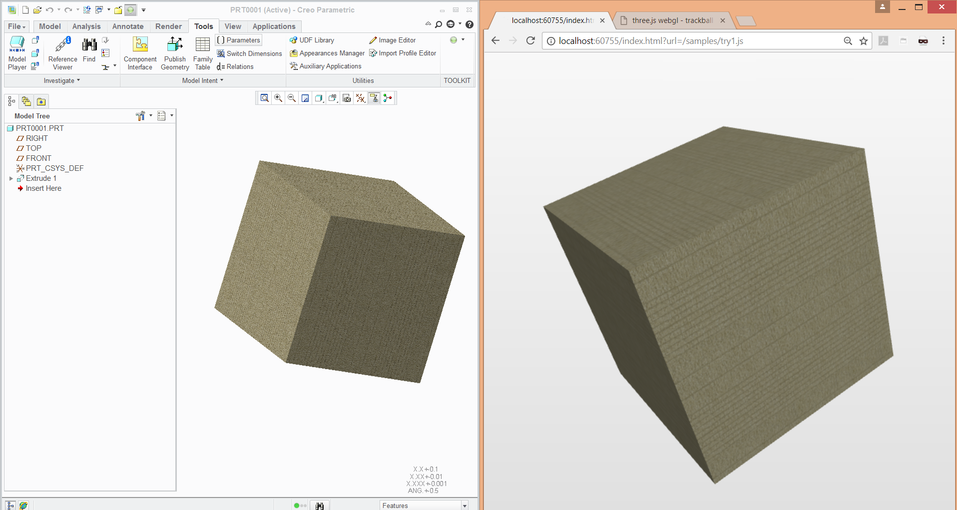 cube exported from PTC Creo to WebGL